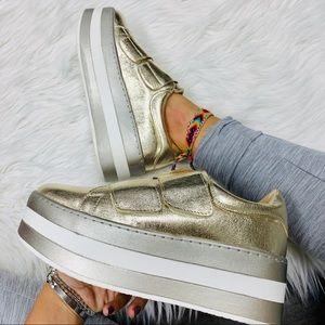 Gold velcro platform sneaker